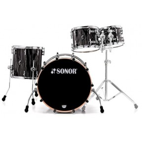 SONOR Prolite Stage 2 Ebony White Stripes Shell Set